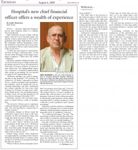 Hospital's new chief financial officer offers a wealth of experience